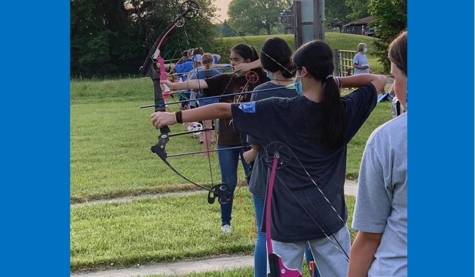 4-H shooting sports archery being practiced by a group of 4hers.