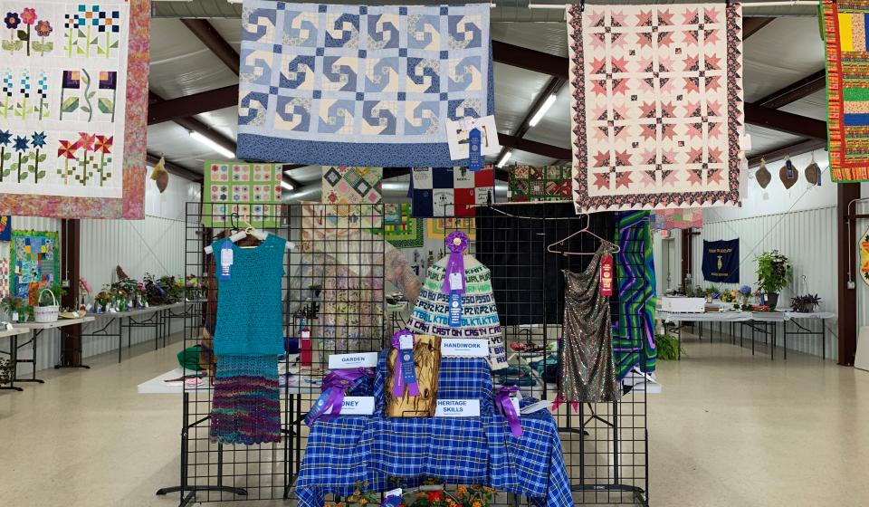 Exhibit of Best of Show winners at fair. Quilts, Needlecrafts, flowers with blue ribbons.